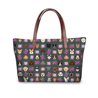 c4668ce60 ELVISWORDS Pet Heads Sunflower Luxury Handbags Women Bags Designer With PU  Leather Florals Shoulder Bag Mochila
