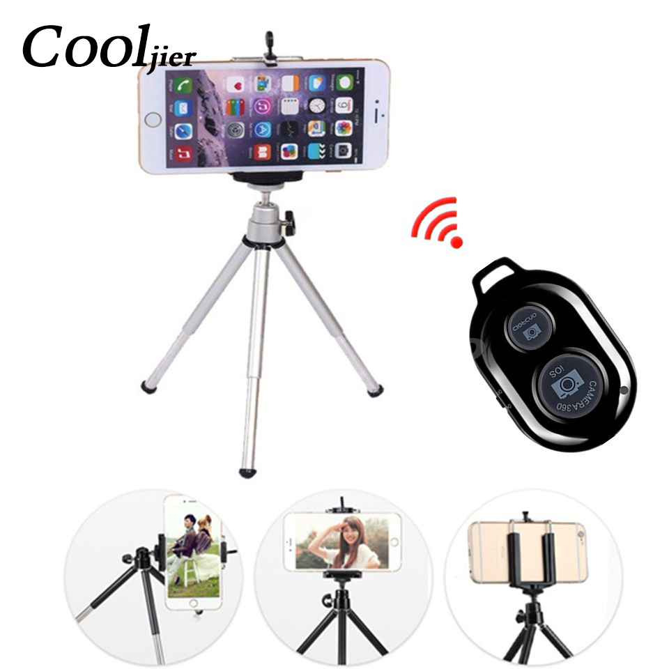 COOLJIER mini tripod for phone Bluetooth Remote Tripod Portable Monopod Extendable Mini Camera Stand Universal Phone Tripods duszake dt2 camera mini tripod for phone stand aluminum for iphone tripod for phone camera mini tripod for mobile gorillapod
