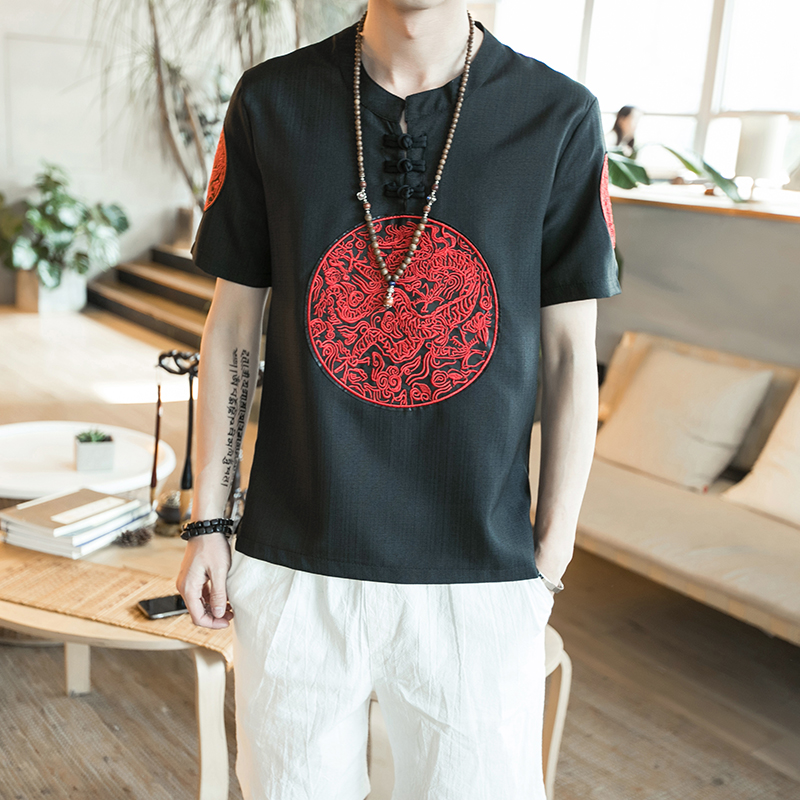 6 Classic Pan Kou Design T Shirt Men Summer Brand New Chinese Style Linen Mens T-Shirts Dragon Embroidery Short Sleeve Tops&Tees