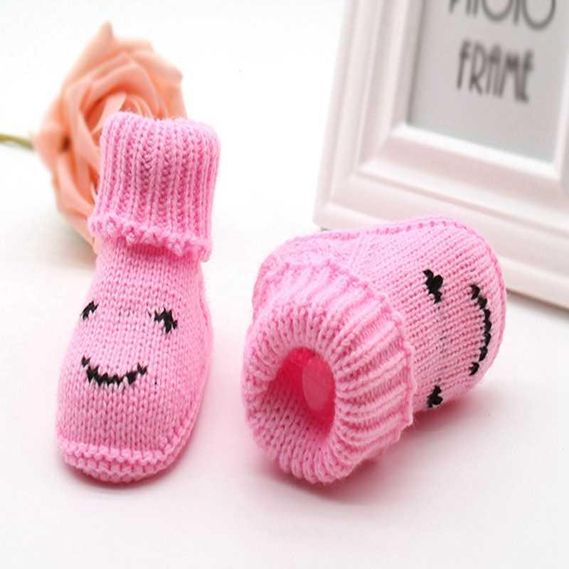 Botas de nieve de bebé de punto de lana gruesa otoño invierno cálido Bebé Zapatos de bebé calzado