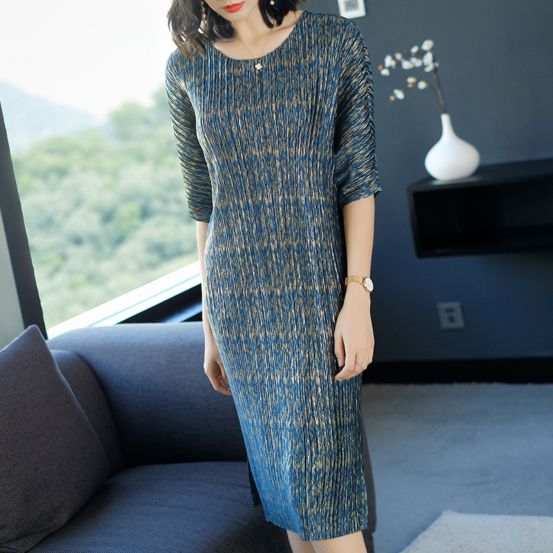 European Fashion New Spring Summer Women Elegant Printing Lady Casual Pleats Wrinkled One Piece Dress