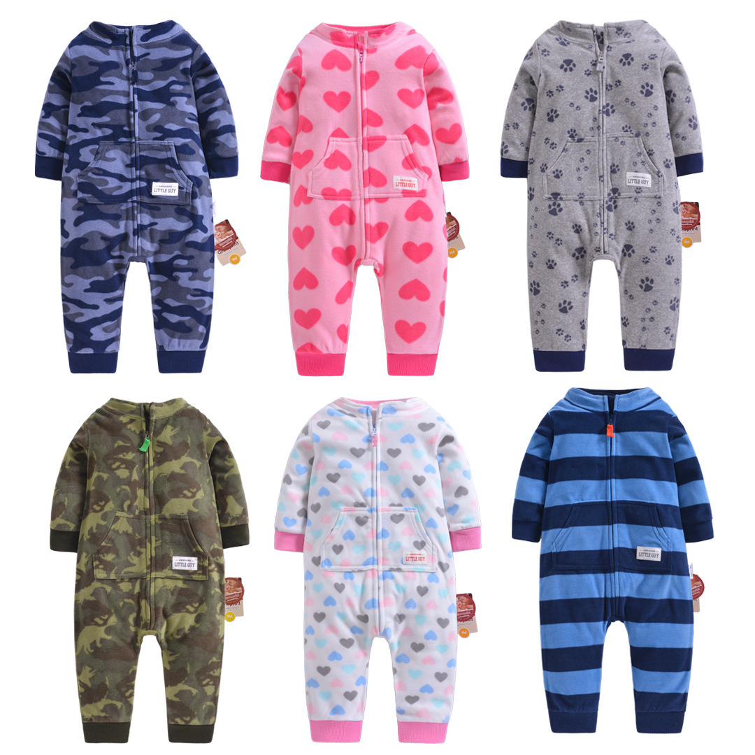 Baby clothes fleece boys jumpsuit camouflage high collar spring infants bebe jumpsuits winter toddler boys   romper   baby costumes
