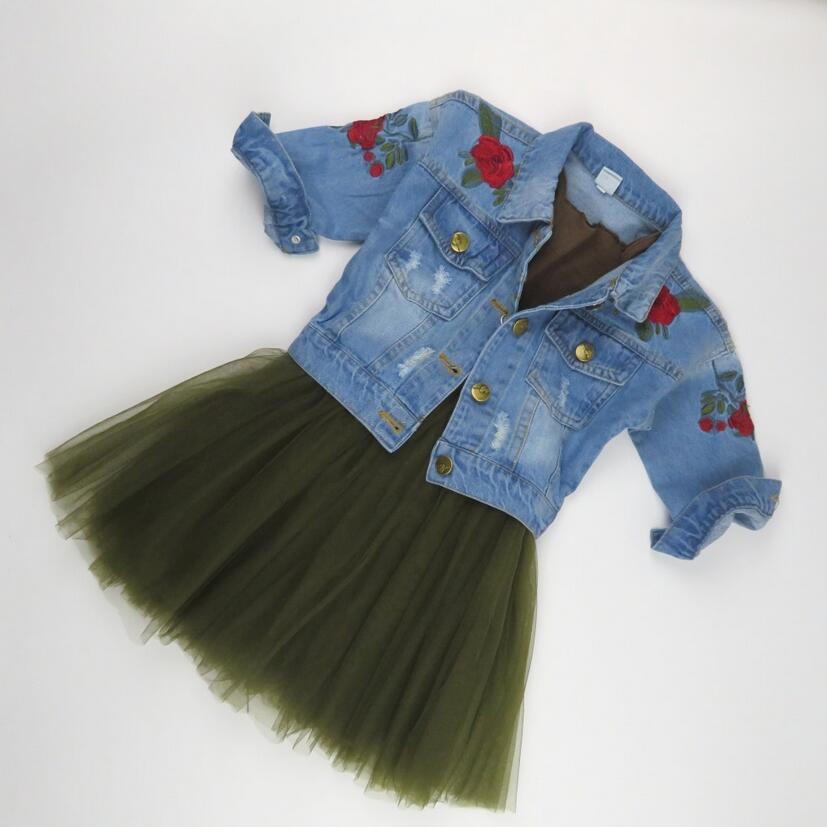 Фото 2018 Fashion Baby Girls Clothing Sets Embroidered Floral Denim Jackets and Coats+Tutu Skirt Winter Children Outwear Brand kids