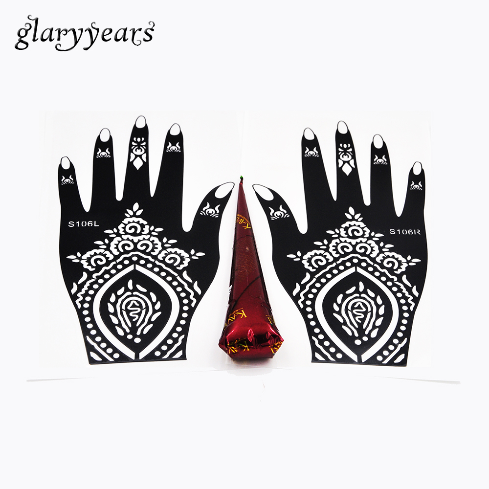 Henna Tattoo Color Brown: 1 Pair Hands Henna Stencil + 1 Piece Brown Color Henna