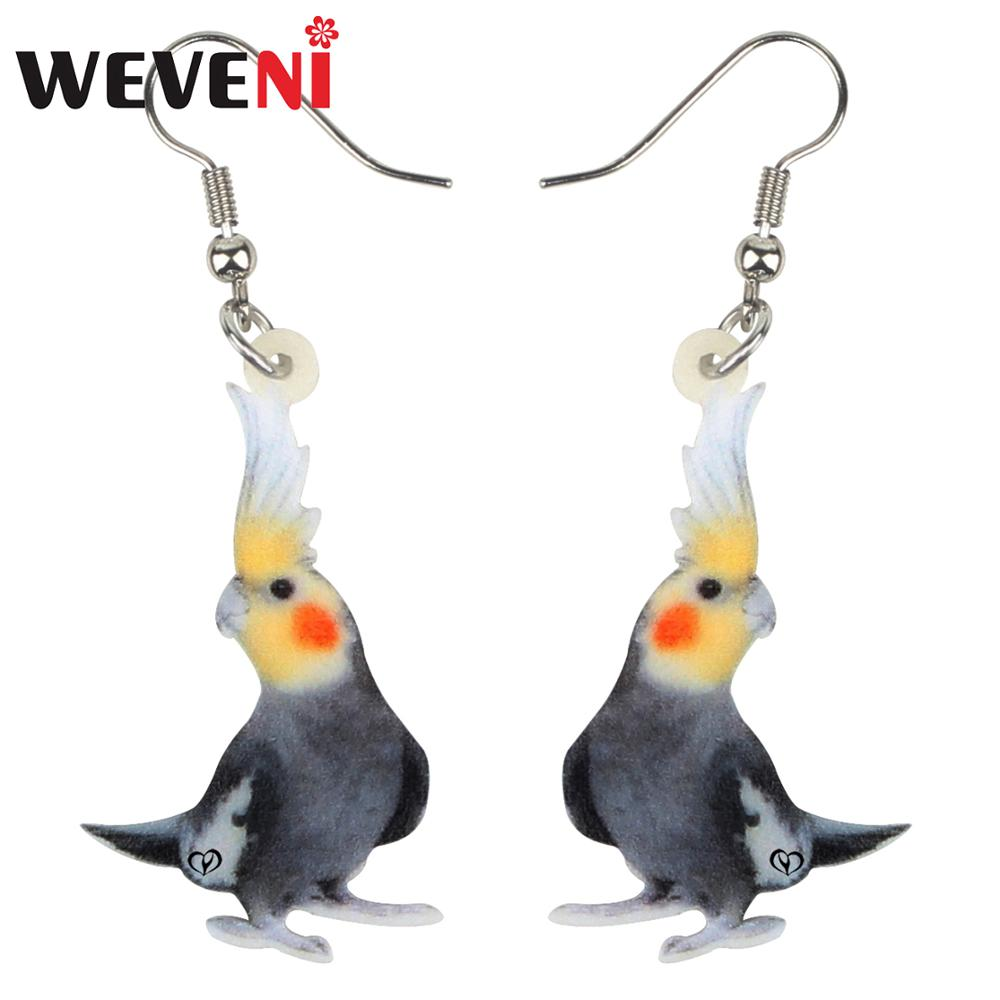 WEVENI Acrylic Clever Nymphicus Hollandicus Bird Earrings Drop Dangle Stud Cute Fashion Jewelry For Women Girls Gift Decoration