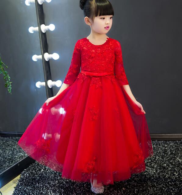 Fille Robe princesse Costume 2017 marque à manches longues robes de noël enfants vêtements Rose fleur Robe Fille raiponce enfants Robe