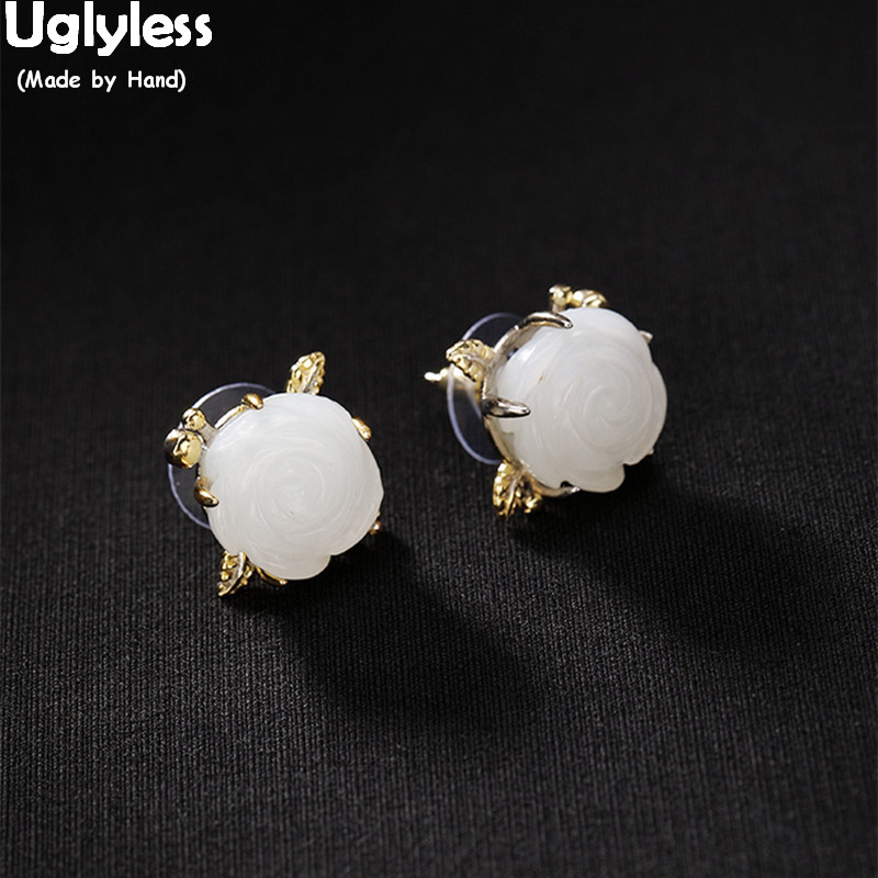 Clous de fleur de Jade blanc sculptés à la main Uglyless pour femmes 100% véritable solide 925 boucles d'oreilles en argent plaque d'or bijoux fins gemmes