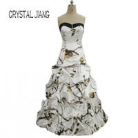 CRYSTAL JIANG 2018 Camo Real Tree Dress Custom made Ruffles Simple Design Vintage Bridal Wedding Dresses