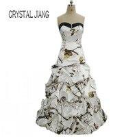 CRYSTAL JIANG 2018 Camo Real Tree Dress Custom made Ruffles Simple Design Vintage Bridal Wedding Dresses