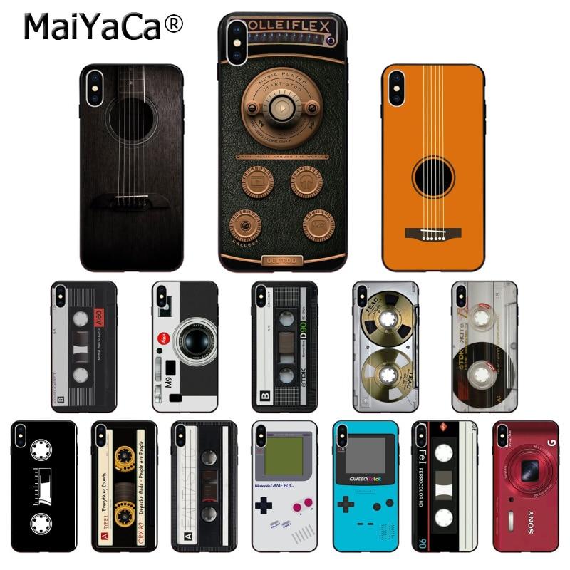 MaiYaCa Retro tape guitar camera Game Boy Silicone TPU Soft Phone Case for iPhone X XS MAX  6 6s 7 7plus 8 8Plus 5 5S SE XR