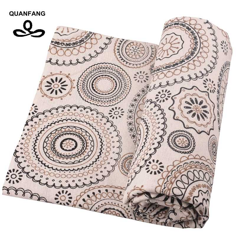 QUANFANG circular pattern, printed cotton quilted quilting, sewing, DIY, sofa/table, fabric furniture half  meter