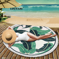 LOUTASI Tropical Plant Microfiber Beach Towel Yoga Mat Tassel Blanket Large Flamingos Round Bath Towel 150cm Tapestry Home Decor