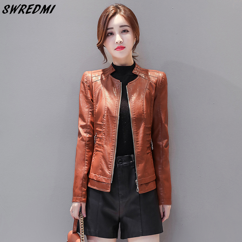 SWREDMI High Street Women   Leather   Coat Mandarin Collar Zipper   Leather   Clothing Female Short Spring And Autumn   Leather   Jackets
