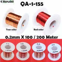 Cltgxdd 100/200 метр новая полиуретановая эмалевая проволока QA-1-155 медная проволока магнитная обмотка катушки 0,2 мм красный/истинный цвет