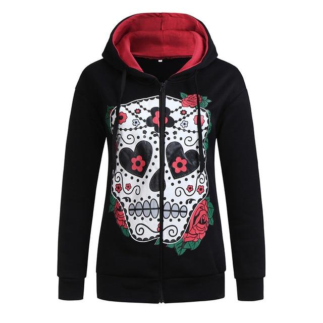 Women Hoodies Pullover Autumn Winter Black Long Zip Sleeve Sweatshirts Female Skull Print Casual Hoodies Tracksuits Sueter #10T
