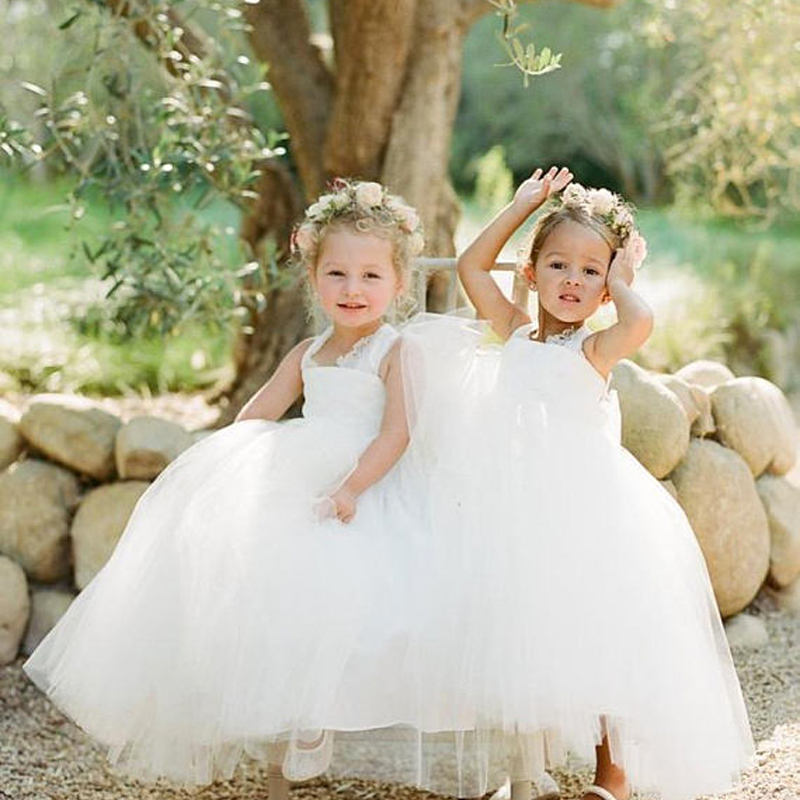 Tulle Flower Girls Dresses For Wedding A-Line Girl Birthday Party Dress White Kids Prom Dresses Long Mother Daughter Dresses flower girls dresses for wedding gowns white girl birthday party dress ankle lenght kids prom dresses long mother daughter dress