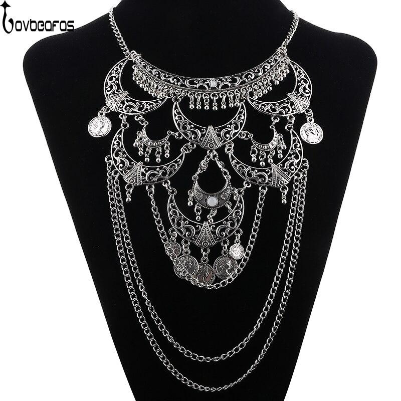 цена на LOVBEAFAS Collares 2018 Boho Maxi Choker Collier Femme Necklace Vintage Colar Statement Bohemian Necklace Women Fine Jewelry