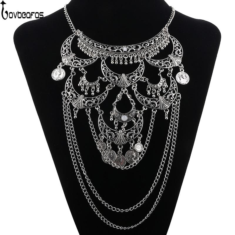 LOVBEAFAS Collares 2019 Boho Maxi Choker Collier Femme nyaklánc Vintage Colar nyilatkozat Bohém nyaklánc Női szép ékszerek