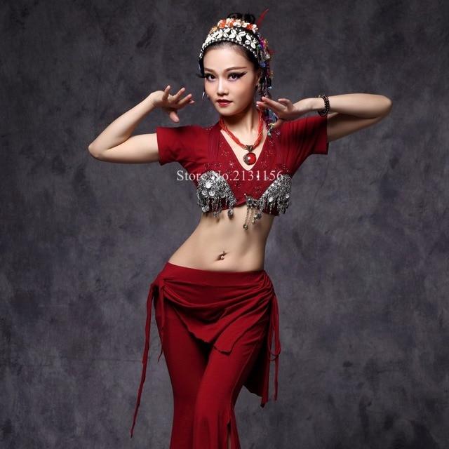 889db63e3a8d Tribal Fusion Belly Dance Practice Wear Costume Set 3 Pieces Bra+ ...