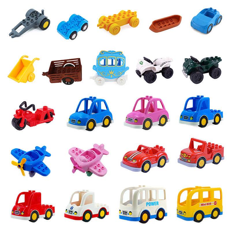 交通車車ビッグビルディングブロック自動車トレーラー飛行機アクセサリー互換 duplos レンガのおもちゃギフト
