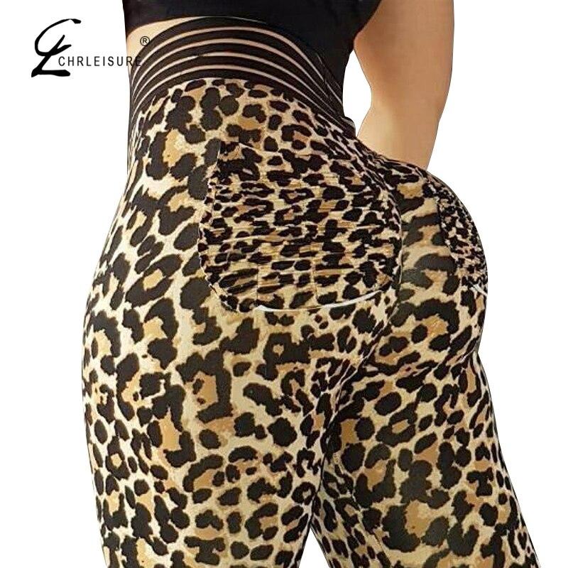 CHRLEISURE High Waist Workout Women   Leggings   Push Up Wrinkle Leggins Femme Women Elastic Sportswear   Leggings   Leopard print