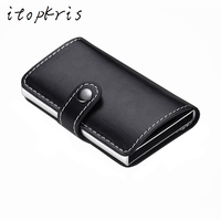 Itipkris Men Automatic Credit Card Holder Portable Business ID Card Case Travel Aluminum Alloy Cardholder Wallet