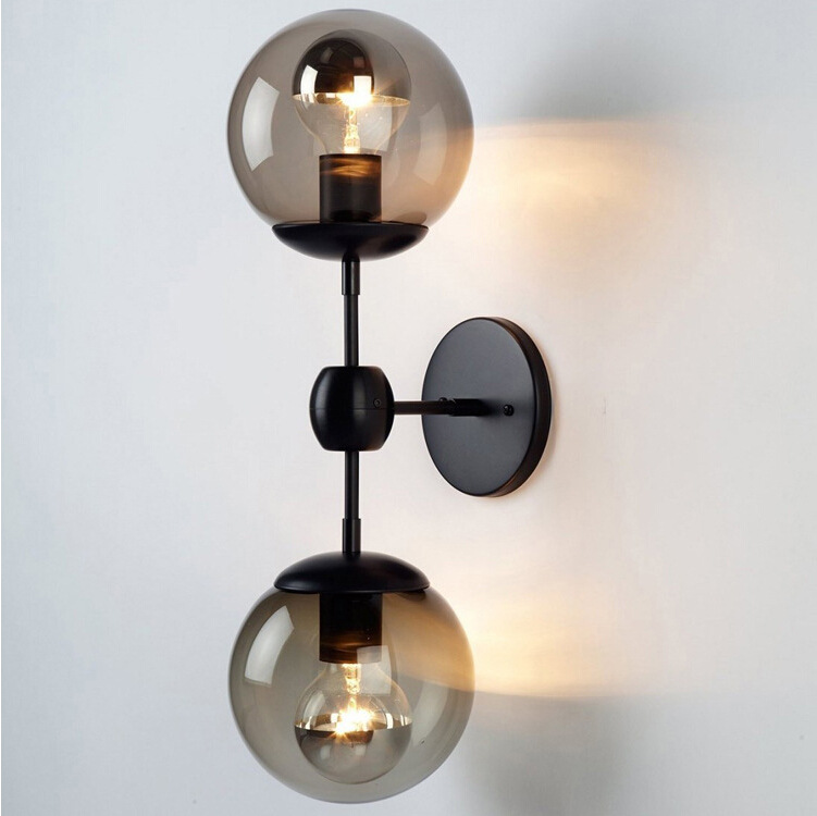 ФОТО Nordic American retro study the living room ceiling hanging wall lamp bed loft black iron modern wall Lamp light
