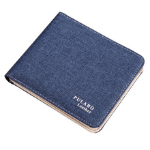 New Brand Short Designer Man Canvas With Leather Wallet With Coin Pocket Boys Card Holder Thin Purse For Men