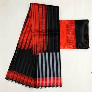 Image 4 - Heißer verkauf Ghana Stil satin seide stoff mit organza band Afrikanischen wachs design! J52602