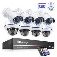 Techage 8CH POE 1080 P безопасность NVR наборы 2MP Аудио Звук CCTV камера система купольная пуля Крытый Открытый наблюдения наборы 2 ТБ HDD