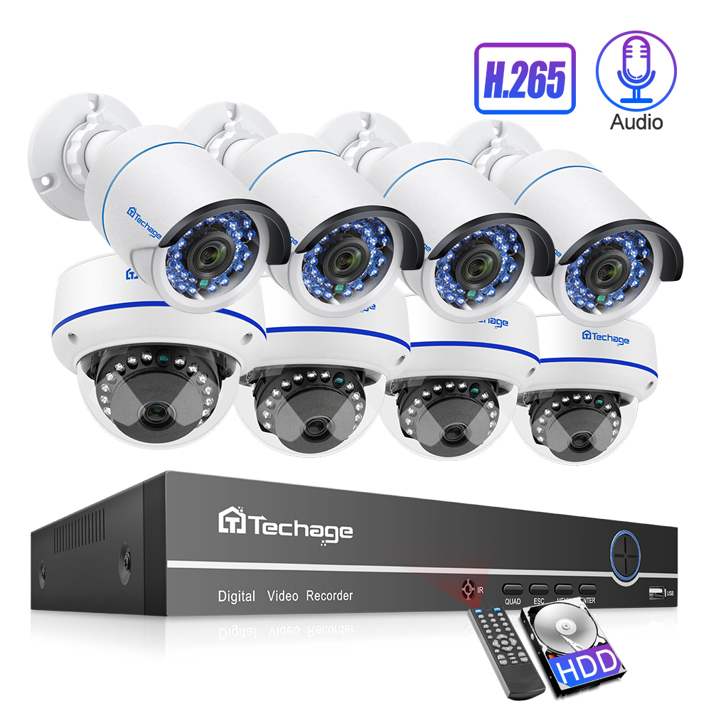 Techage 8CH POE 1080P Security NVR Sets 2MP Audio Sound CCTV Camera System Dome Bullet Indoor