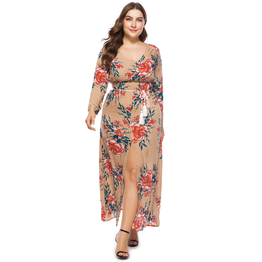 Daatthird Autumn Floral Print Women Dress Sexy Deep V Neck 3 4 Sleeves Maxi  Dresses A Line Elegant Party Boho Dress Plus Size-in Dresses from Women s  ... f61892deb694