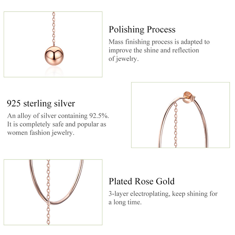 HTB1XkMPVFzqK1RjSZFvq6AB7VXae BAMOER Popular 100% 925 Sterling Silver Big Circle Round Long Chain Drop Earrings for Women Rock Style Earrings Jewelry SCE569