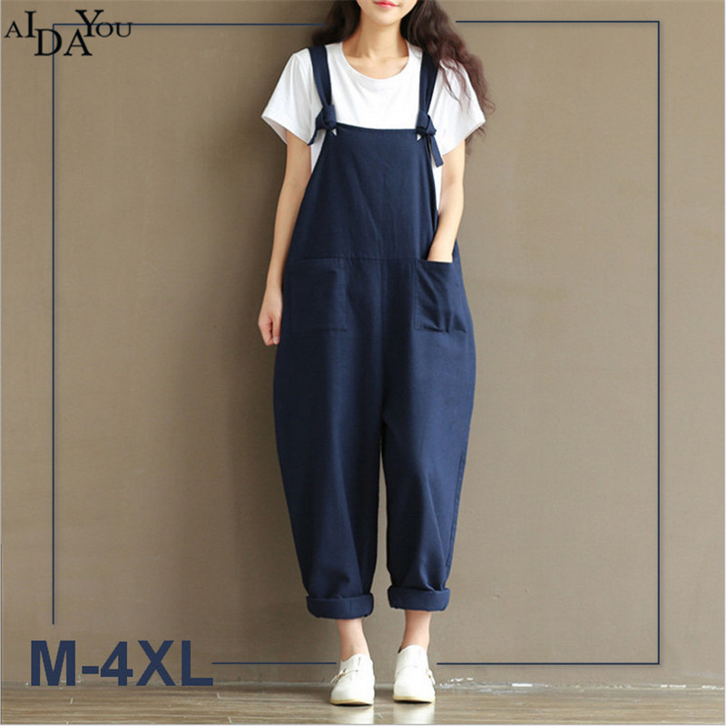 2018 plus size 4xl Summer Autumn Rompers Women Jumpsuits Vintage Casual Loose Solid blue soft Overalls Paysuits ouc1152