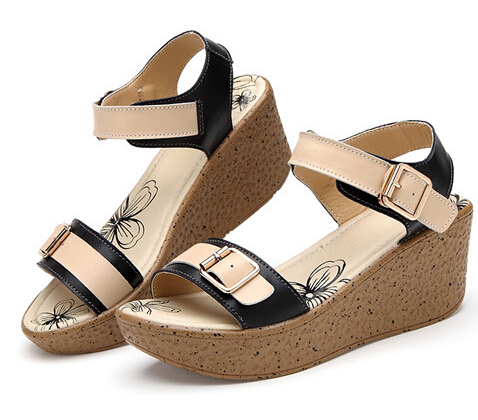 Genuine Leather Sandals Fashion Platform Wedges Sandals 2015 New Ladies Shoes Chunky High Heels Belt Buckle Summer Casual Shoes woman fashion high heels sandals women genuine leather buckle summer shoes brand new wedges casual platform sandal gold silver
