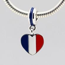 Se adapta a pandora charms pulseras de plata de ley perlas de la bandera de francia silver charm diy esterlina de plata-joyería de los encantos