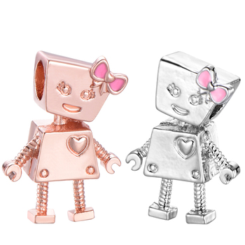 Gold/Silver Color Love Heart Robot Pendant Bella Charms Fit Original Brand Bracelets Necklace For Women Jewelry DIY Jewelry image