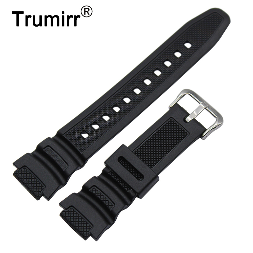 Soft Silicone Rubber Watchband for Casio SGW-300H SGW-400H Watch Band Men Stainless Steel Buckle Strap Wrist Belt Bracelet Black часы casio collection sgw 300h 1a black