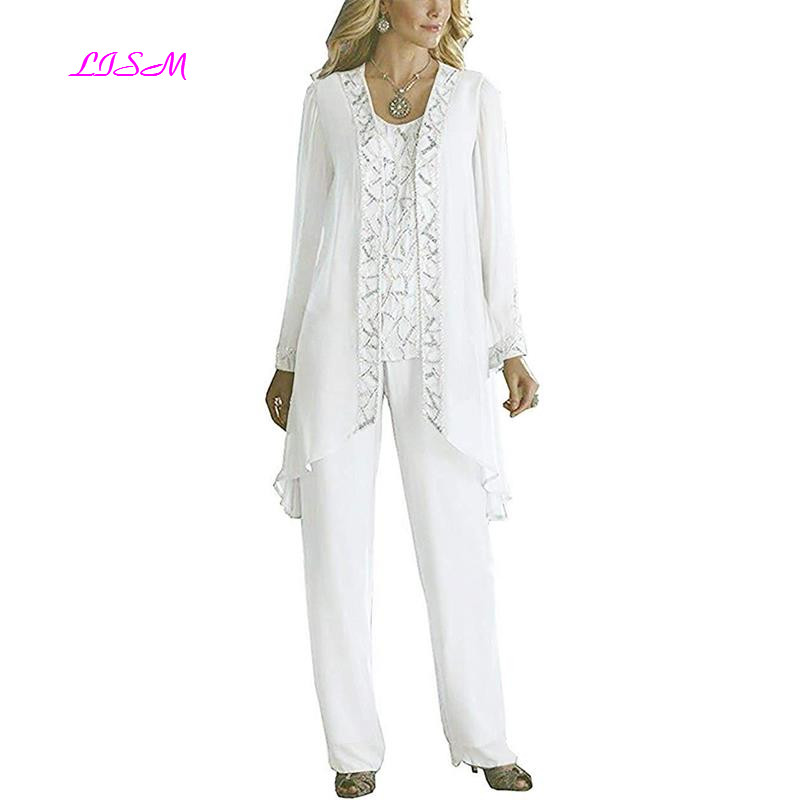 Elegant Mother of The Bride Pant Suits for Wedding 3 Pieces Beaded Outfits Evening Formal Gowns
