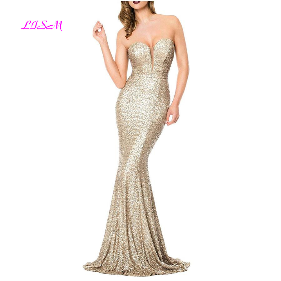 Mermaid Shining Sequins Evening Dresses Sweetheart Bodice Prom Dress Strapless robe de soiree longue 2019 Long Formal Gowns