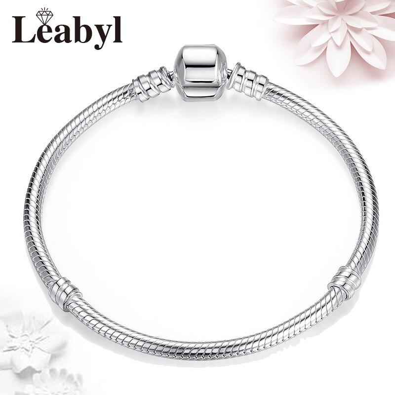 NOT FADE Silver Pan Basic Bracelets Bangles fit Original Charm Bead Bracelet for Women Jewelry Gift