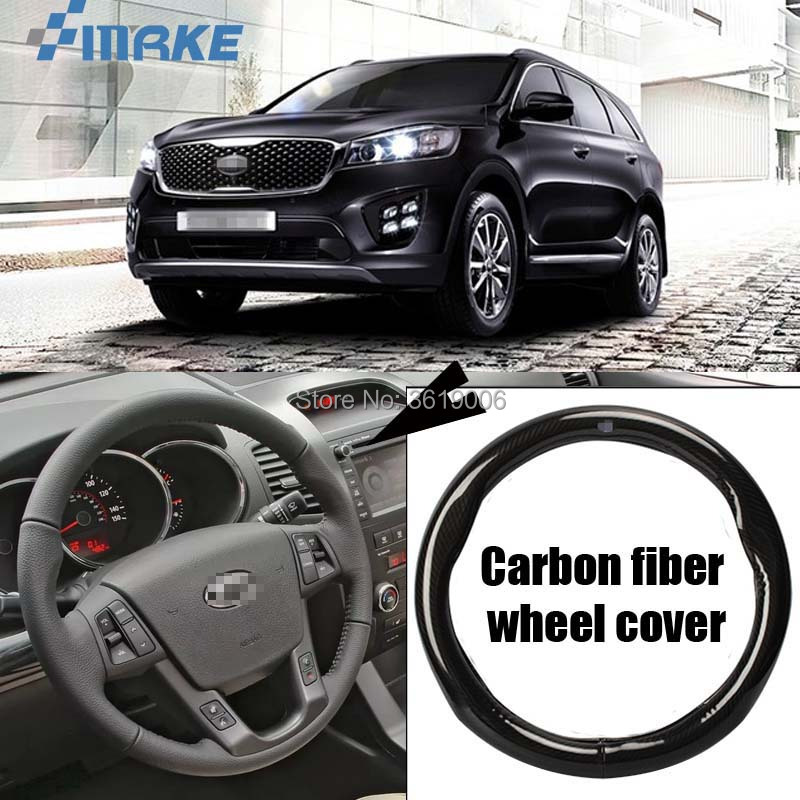 smRKE Car Accessories For Kia Sorento Black Carbon Fiber Leather Steering Wheel Cover Sport Racing Car Styling
