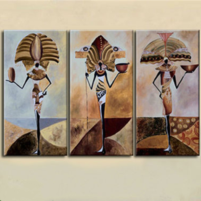 African Home Decor By 3rd Culture: Hand Painted African Totem Culture Oil Painting Modern