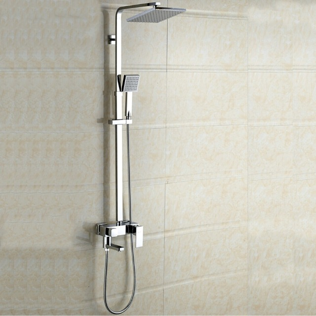L15195 Luxury Wall Mounted Brass Rainfall Shower Set Square Shower ...