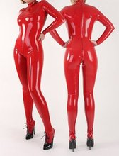 100% Latex caoutchouc rouge costume complet-corps Catsuit Zipper body femmes collants taille XS ~ XXL(China)