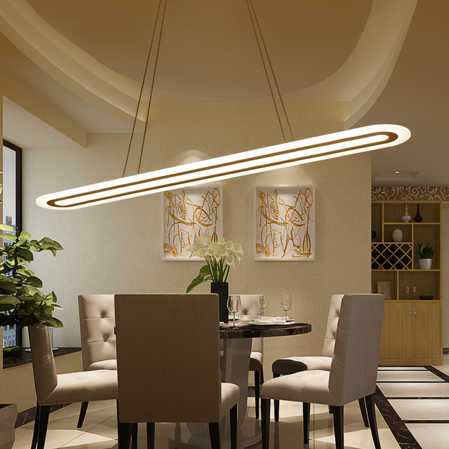 Modern Led Suspension Chandelier Oval Strip Plexigl Home Lighting For Kitchen Dining Room Lamp Re