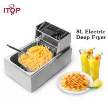 ITOP 8L Electric Deep Fryers Chicken Potato Chip Frying Machine Stainless Steel Commercial Fryer With Lids EU/US/UK Plug