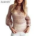 Z & KOZE Sexy White Lace Oco Out Crochet Top 2016 Outono Das Mulheres Camisa Blusa de Manga Comprida Casual Elegante Floral Blusas Femme