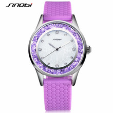 SINOBI Women Watch 2017 Womans Luxury Watches Silicone Strap Fashion Quartz-Watch Ladies Golden Wristwatch Relogio Feminino F53