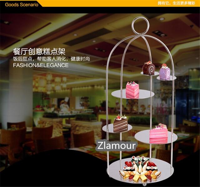 stainless steel western hotel cafe birdcage snack stand cake dessert sushi shelf food display shelves restaurant